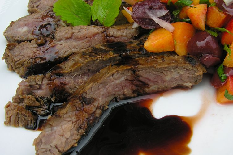 Simple cherry sangria salsa with steak