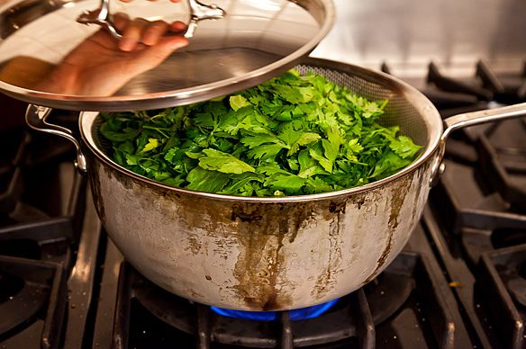 steaming greens