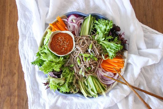 Spicy Korean Buckwheat Noodle Salad
