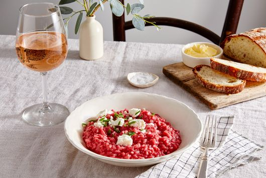 Beetroot Risotto With Goat Cheese