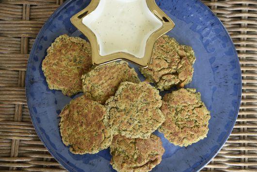 Baked Falafel Latkes with Tahini Sauce