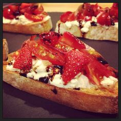Burrata, Tomato and Strawberry Crostini