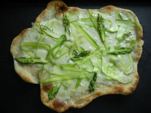 Fried Asparagus Pizza