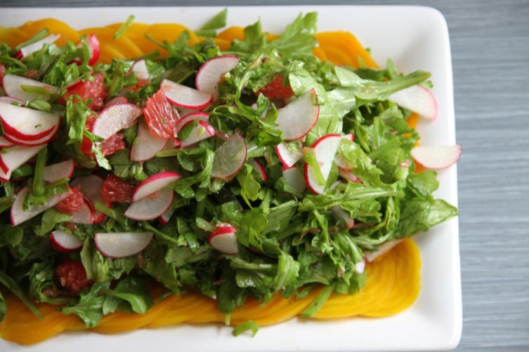 Beet Carpaccio with Arugula, Radishes and Grapefruit