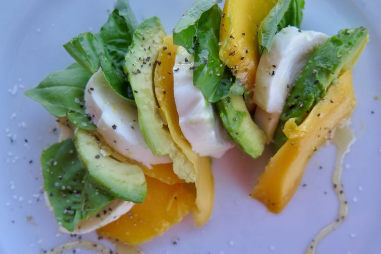 Mango-Avocado Salad with Fresh Mozzarella, Basil, and Honey
