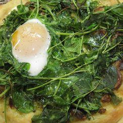 Duck Carbonara Pizza with Green Garlic, Arugula & Pistachio Pesto