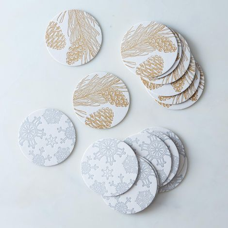 Gold & Silver Letterpress Coasters (Set of 16)