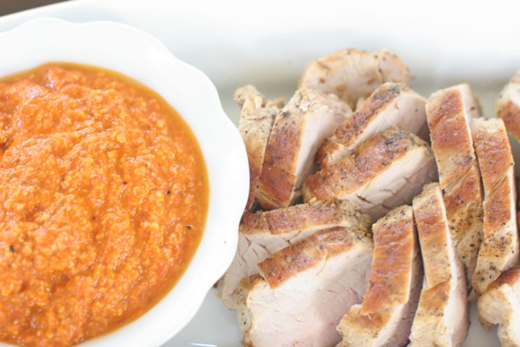 Grilled Pork Tenderloin with Roasted Red Pepper Sauce