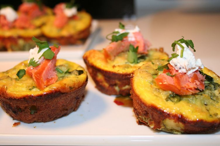 Zucchini & Goat Cheese Frittatas with Smoked Trout Recipe on Food52