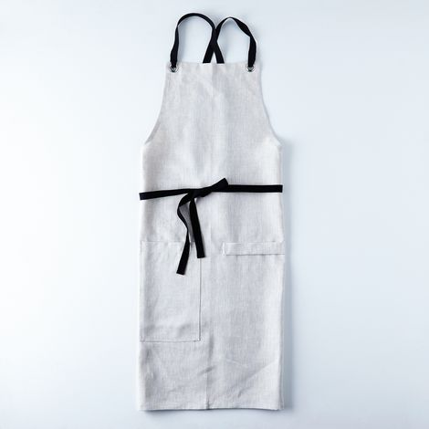 Oatmeal Cross-Back Kitchen Apron with Black Ties