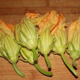 Zucchini Risotto with Stuffed Squash Blossoms