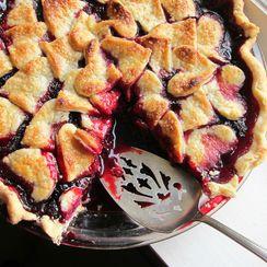 Marionberry Pie with shortbread crust