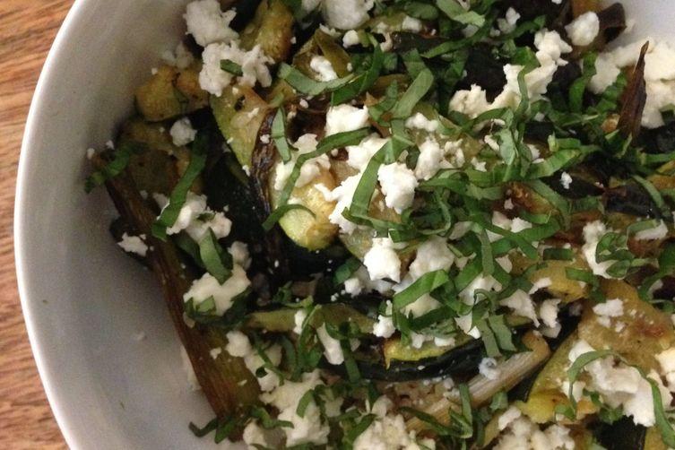 Roasted Zucchini and Scallion Quinoa Bowl