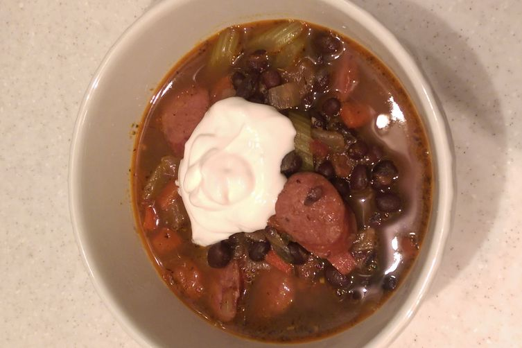 Spicy Black Bean Soup with Andouille Sausage