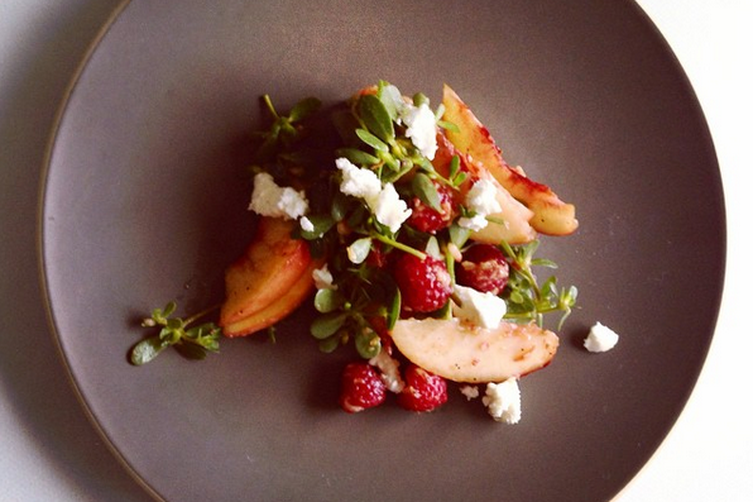 Peach, raspberry + purslane salad