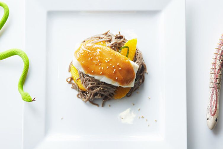 Orange Miso Cod and Soba Noodle Salad