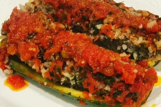 Lamb & Rice Stuffed Zucchini