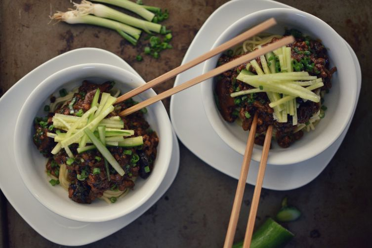 Zha Jiang Mian  (Chinese Braised Pork and Shiitake Noodles with Cucumber)