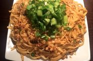 Spicy Garlic Noodles with Crumbled Tofu and Cucumber Salad