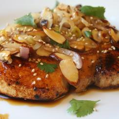Citrus Glazed Swordfish Almondine