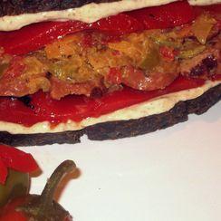 Pepper, Sauerkraut, Turkey Kovbasa on Pumpernickel & Creamy Horseradish-Mustard