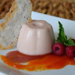 Red Raspberry Panna Cotta with Papaya Coulis