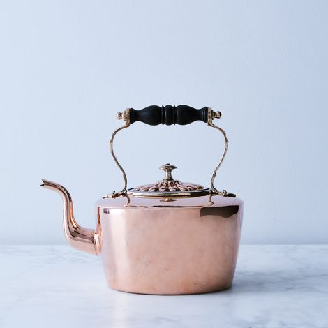 Vintage Copper Oval Embossed Tea Kettle with Wooden Handle, Mid 19th Century