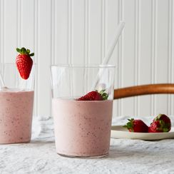 Roasted Strawberry Milkshake with Buttermilk and Mint