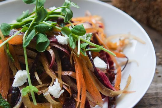 Tri-colored Carrot Salad with Goat Cheese, Mint and Peas Tendrils