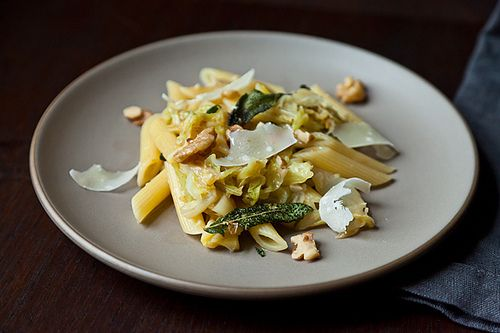 Weekknight Pasta with Caramelized Cabbage, Sage Infused Brown Butter and Walnuts