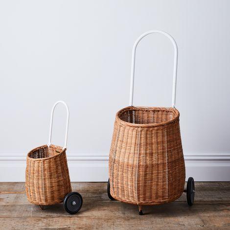 Rattan Rolling Market Cart