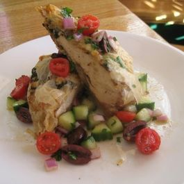Spanikopita wrapped chicken breast with Greek Salsa