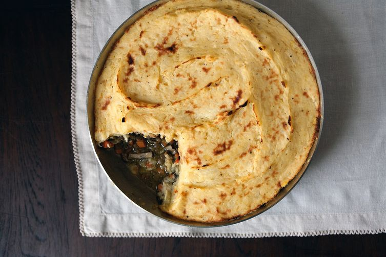 Vegan Lentil Shepherd's Pie with Parsnip and and Potato Mash
