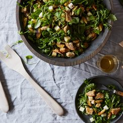 Brussels Sprouts and Apple Salad with Cheddar and Rye Breadcrumbs
