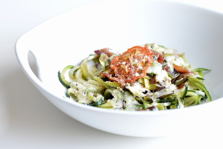Zucchini Pasta with Bacon, Leeks and Lemon Cream Sauce