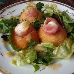 Melon, Prosciutto, and Mozzarella Appetizer with a Mint Melon Dressing