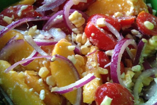 Tomato and Peach Salad With Corn and Feta