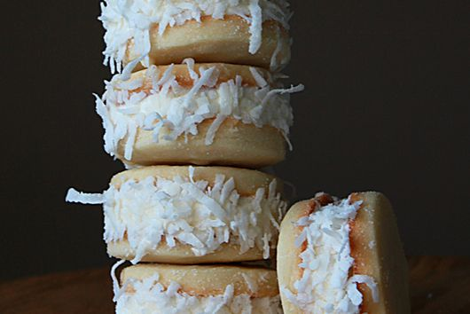 Coconut shortbread ice cream sandwich