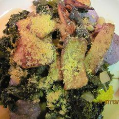 Kale with Heirloom Tomatoes and Marinated Tofu over Potatoes