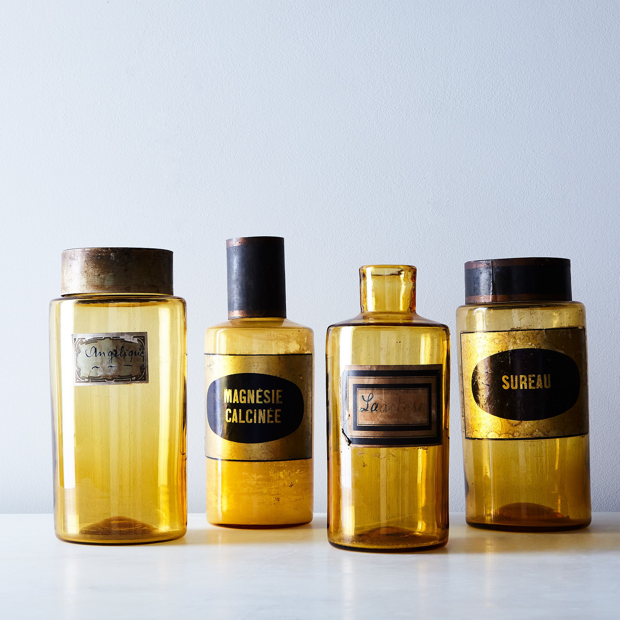7ef0310d f17f 4b63 93bf ae9f09e822ed  2017 0609 food52 vintage shop vintage large amber apothecary jars silo rocky luten 058