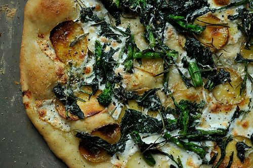 Broccoli Rabe, potato and rosemary pizza on Food52