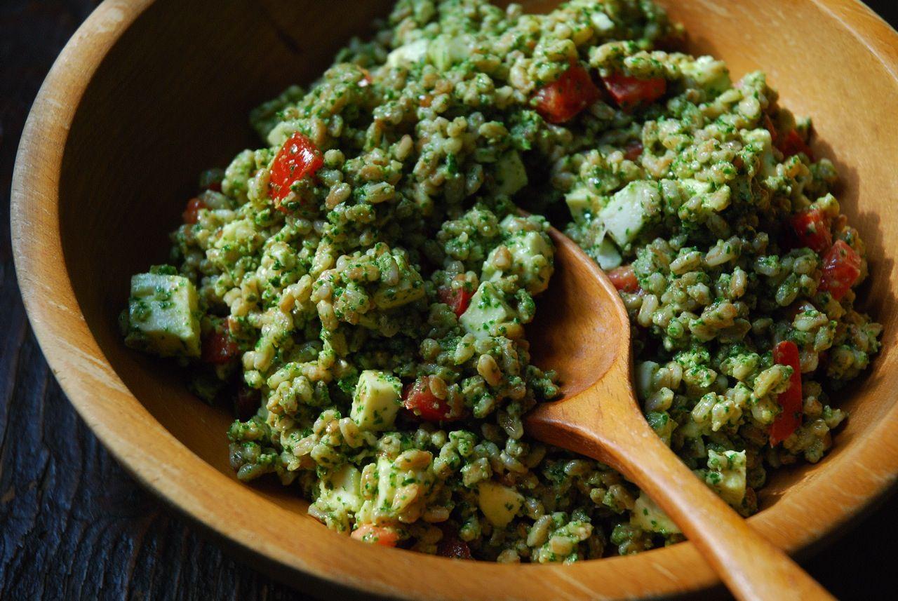 Farro & Fresh Mozzarella Salad with Arugula Walnut Pesto from Food52