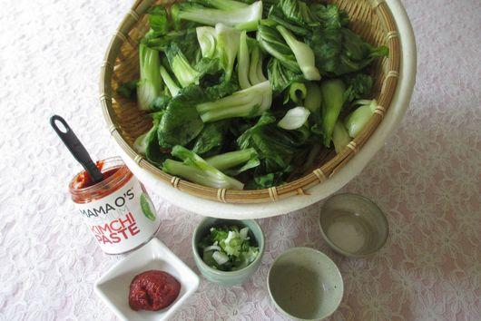 Baby Bok Choy Salad with Mama O's Kimchi Paste