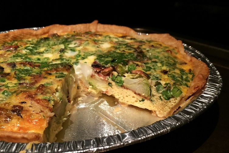 Bacon, Brussels, & Pea Quiche