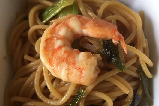 Noodles with Scallions & Shrimp