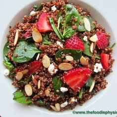 Quinoa Salad with Spinach, Strawberries and Goat Cheese