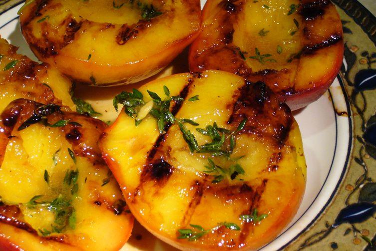 Peaches-n-Herb (Grilled Peaches, Lemon-Thyme Semifreddo, Blueberry Sauce)