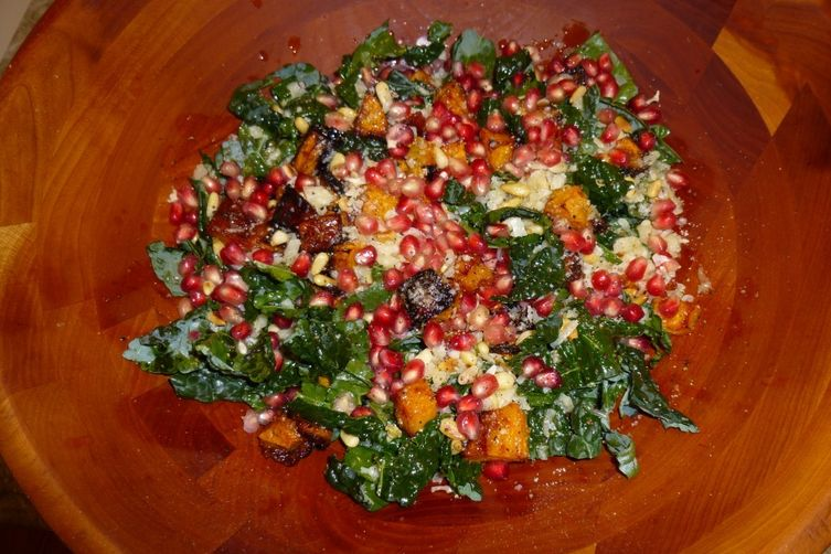 Kale Salad with Squash, Pomegranate, and Pine Nuts