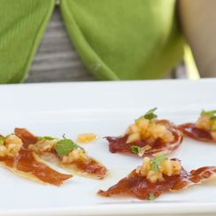Crispy Speck with Peach-Basil Salad