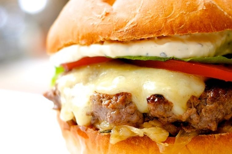 Cheeseburgers with Thyme Caramelized Onions, Garlic Mayo, and Havarti.